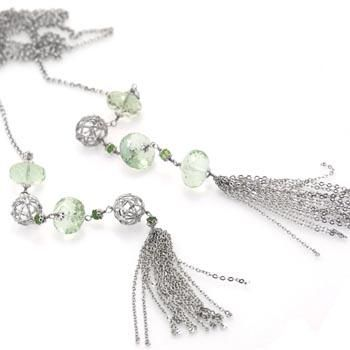 Colier din argint cu ametist verde si franjuri