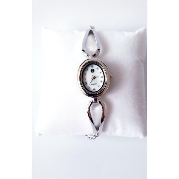 Ceas din argint cadran rotund si curea reglabila