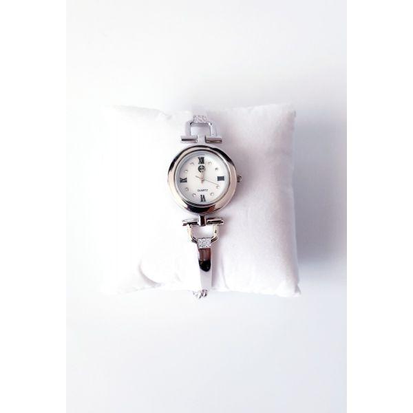 Ceas din argint 925 cu bratara partial fixa tip art deco si cadran rotund.