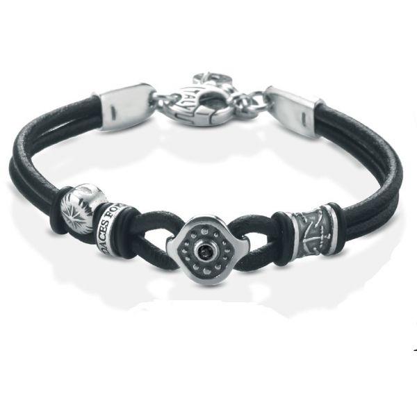 Bratara din piele naturala neagra si elemente decorativedin argint