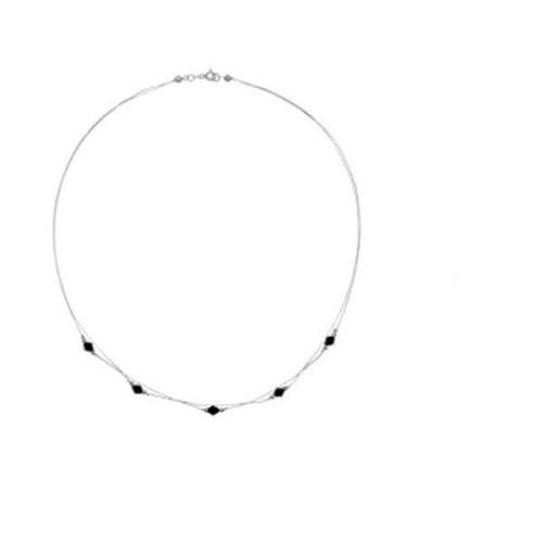 Colier din argint cu cristale Swarovski negre
