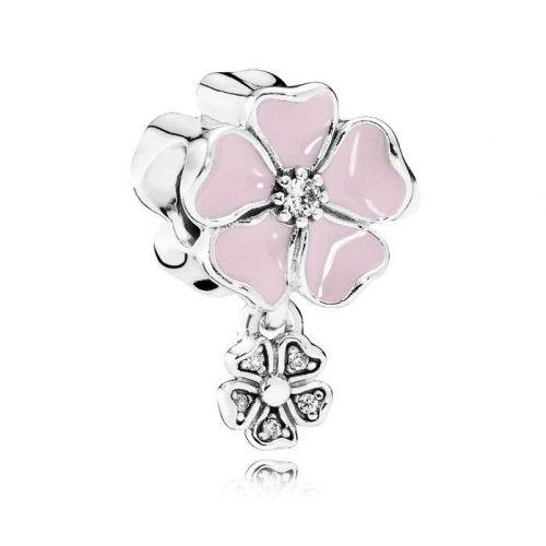 Talisman din argint margareta mare roz