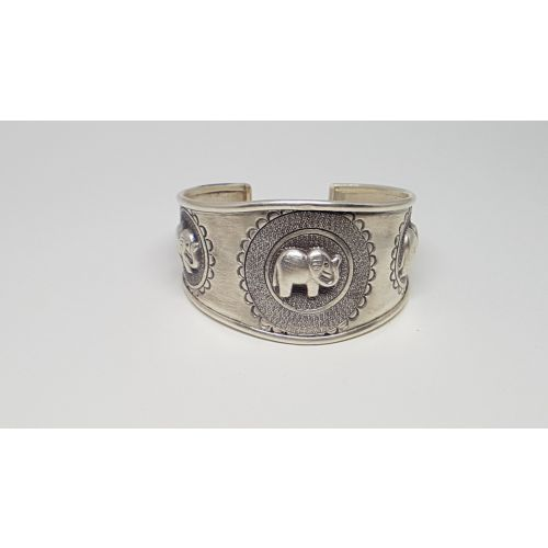 Bratara din argint cu elefanti 3D