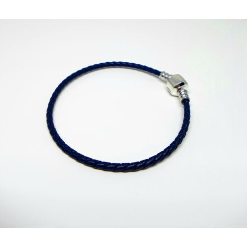 Bratara talismane din piele in sir impletit albastru inchis