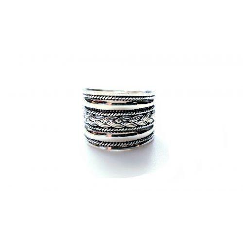 Inel din argint lat cu banda impletita