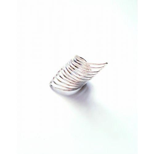 Inel din argint simplu cu model alungit