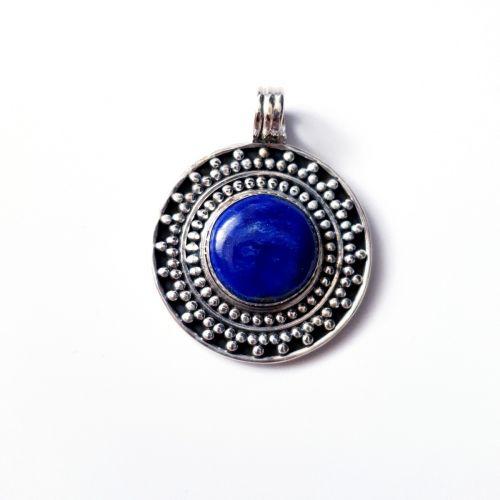 Pandantiv din argint tip disccu Lapis Lazuli