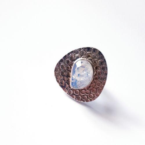 Inel din argint tip disc cu piatra lunii