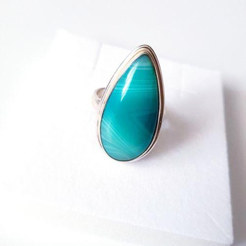 Inel din argint cu Agate Botswana colorate