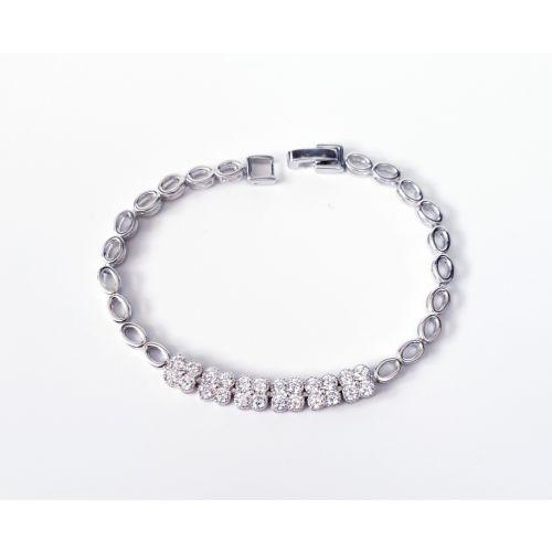 Bratara din argint cu banda de trifoi cu zircon