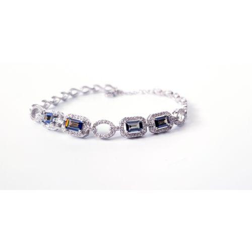 Bratara din argint royal cu cristale mari albastre