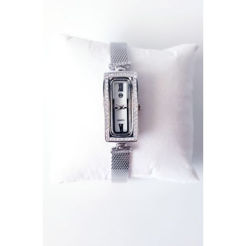 Ceas din argint cu bratara fixa si cadran dreptunghiular