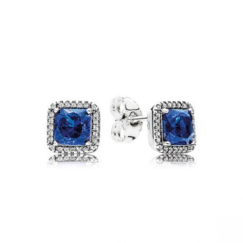 Cercei din argintcristal patrat albastru regal