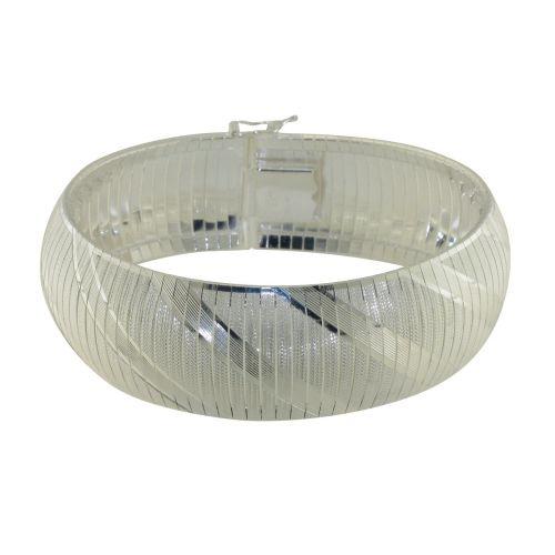 Bratara din argint tip banda cu model diagonal dungat