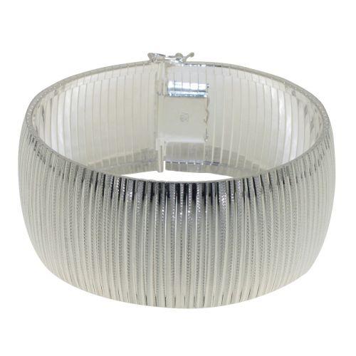 Bratara lata din argintcu model striat