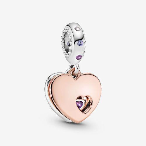 Talisman din argint inimi suprapuse