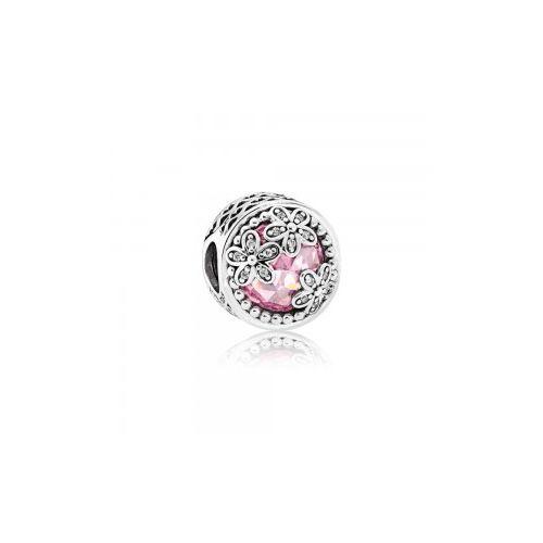 Talisman din argint cristal roz cu margarete