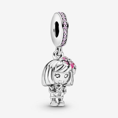 Talisman din argint fetita cu flori in par