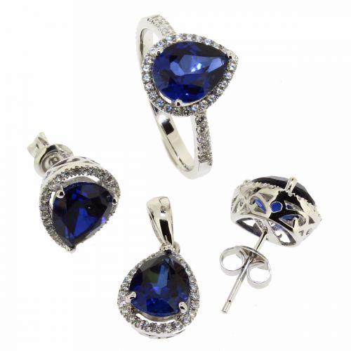 Set albastru din argint 925 cu zircon