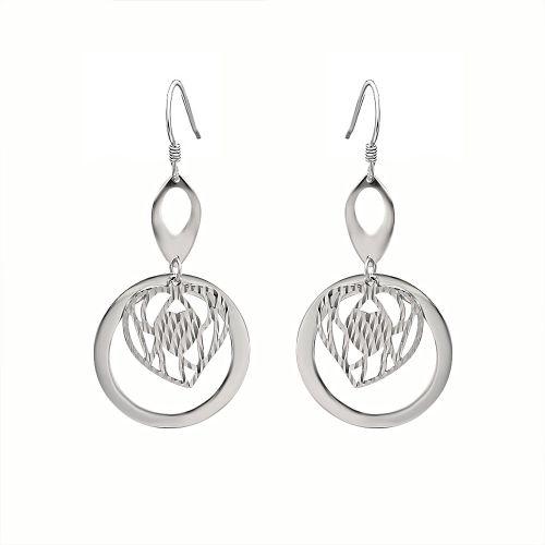 Cercei lungi din argint inima stilizata in cerc