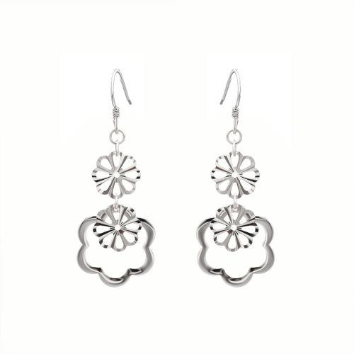Cercei lungi din argint flori stilizate