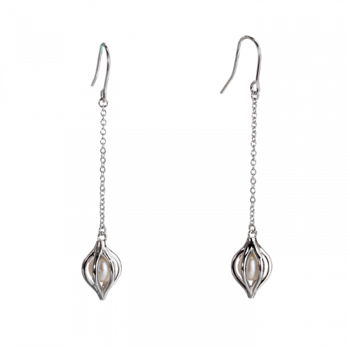 Cercei lungi din argint cu perla
