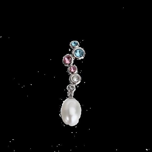 Pandantiv din argint cu perla de cultura si cristale multicolore