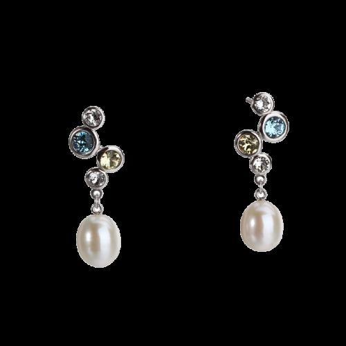 Cercei din argint cu perla de cultura si cristale multicolore
