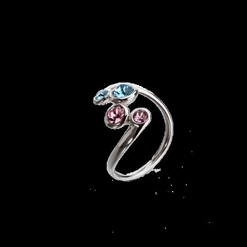 Inel din argint cu cristale multicolore