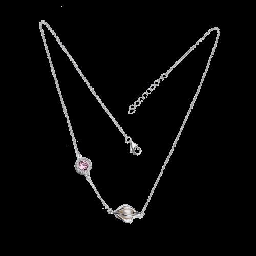 Colier din argintcu perla de cultura si cristal colorat