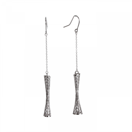 Cercei lungi din argint impletit