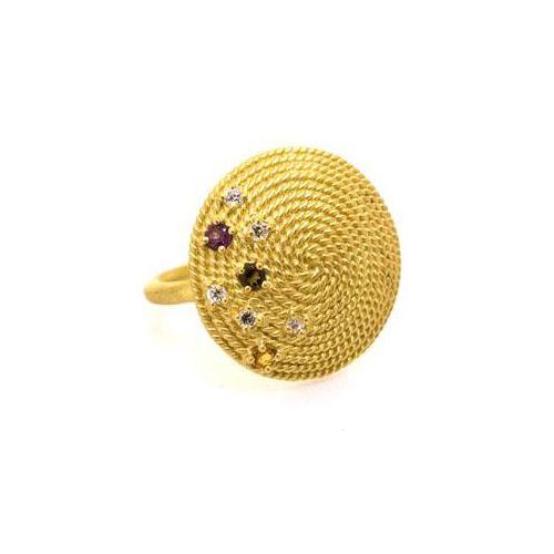 inel din argint placat cu aur cu pietre semipretioase