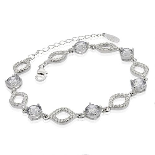 Bratara din argint cu cristale mari de zircon