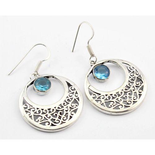 Cercei din argint handmade cu Topaz albastru