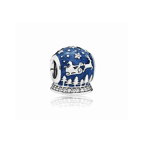 Talisman din argint glob de Craciun albastru