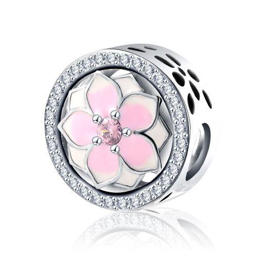 Talisman din argintmagnolie roz
