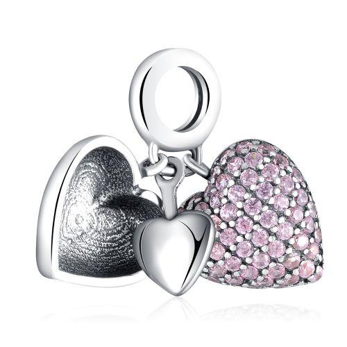 Talisman din argint inima ascunsa batut in cristale cubic zirconia