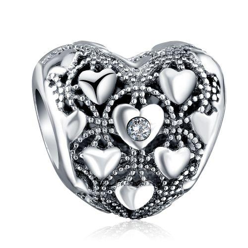 Talisman din argint inimi infinite.