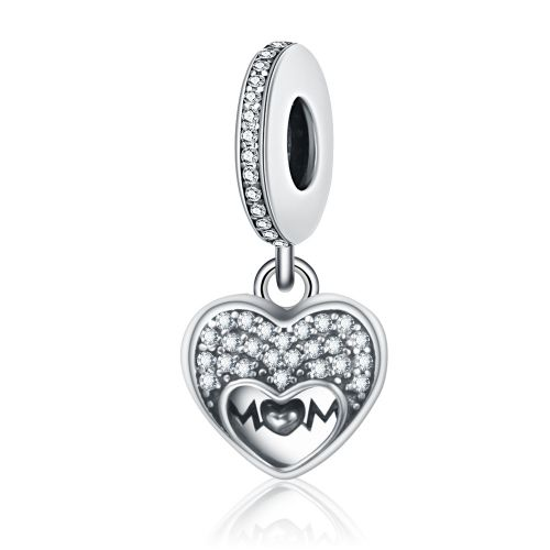 Talisman din argint inima I love my MOM