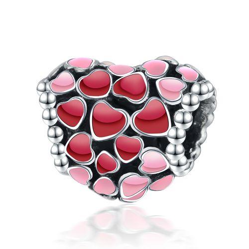 Talisman din argint inimi infinite rosii