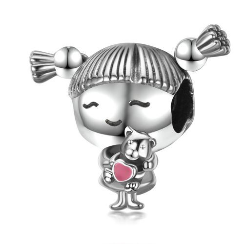 Talisman din argint fetita cu codite