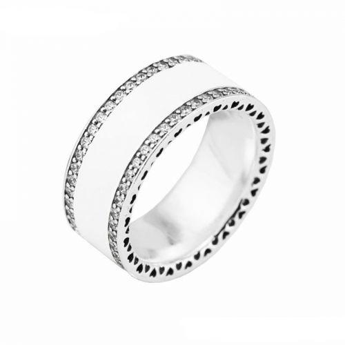 Inel din argint cu email alb si zircon