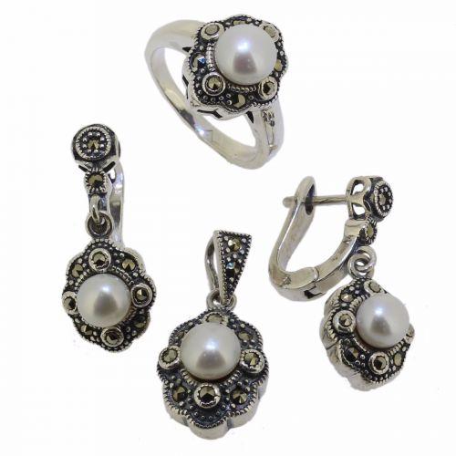 Set din argint 925 cu marcasite si perle