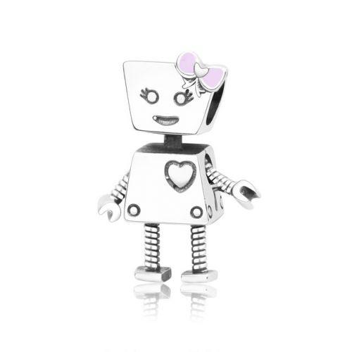 Talisman din argint robotica cu fundita